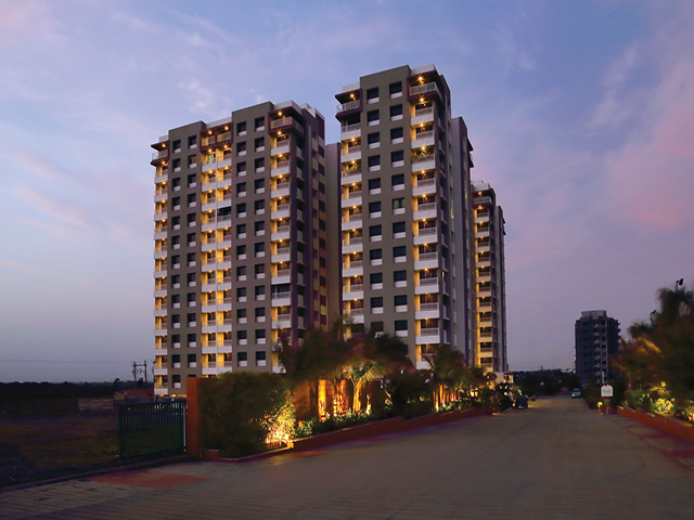 Apple Elegance 2 bhk Flats on Kalawad Road Night View